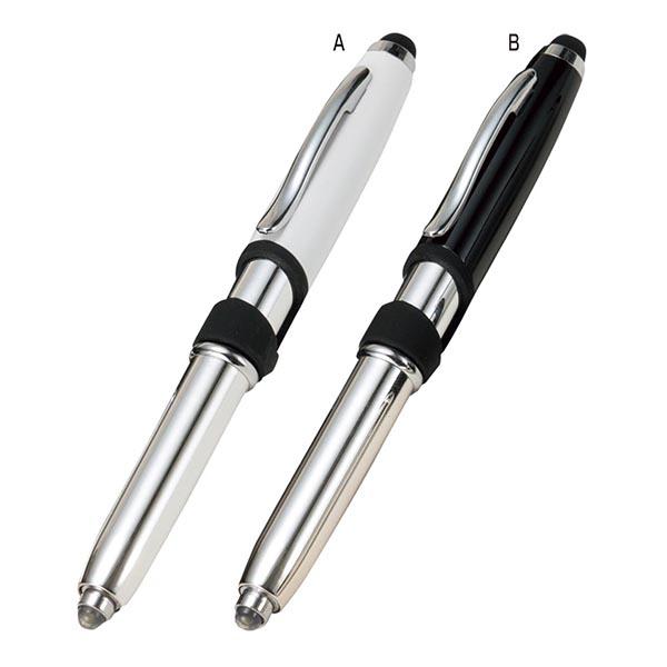 スマホに便利なライト付 ボールペン [A/白]