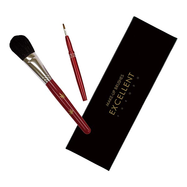 熊野の化粧筆2本セット Aタイプ(モミジ柄)