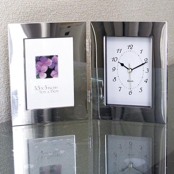 シルバーWフォトフレーム時計付