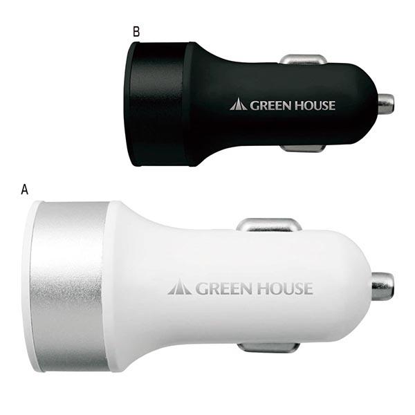 USBシガーソケット充電アダプタ [A/ホワイト]