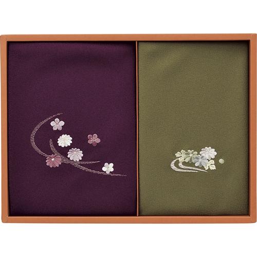 洛北 刺繍入り二巾風呂敷&金封包み [ 紫/利久 ]