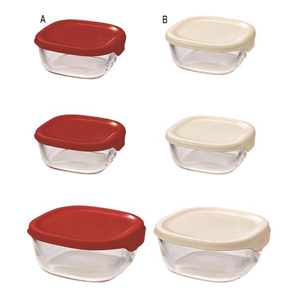 ハリオ 耐熱ガラス製保存容器3個セット [B/オフホワイト]