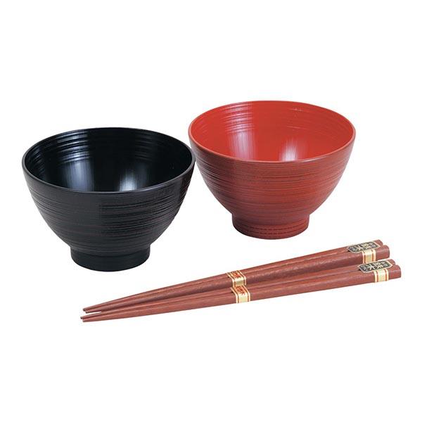 山中塗 刷毛目汁椀ペア 根来・曙(箸付)