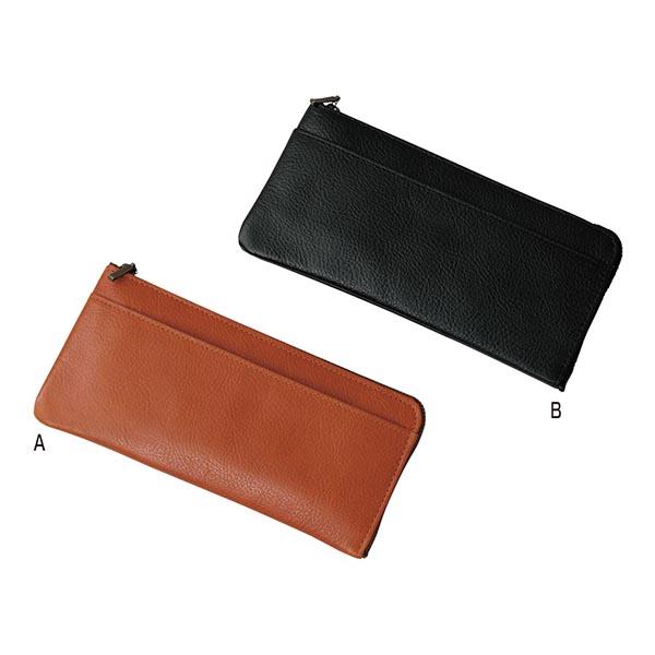 日本製牛革長財布 [A/オレンジ]
