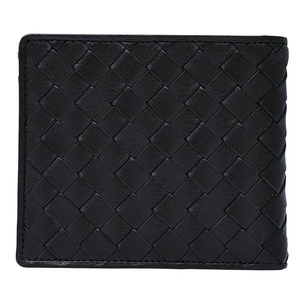 日本製牛革編込み二つ折り財布