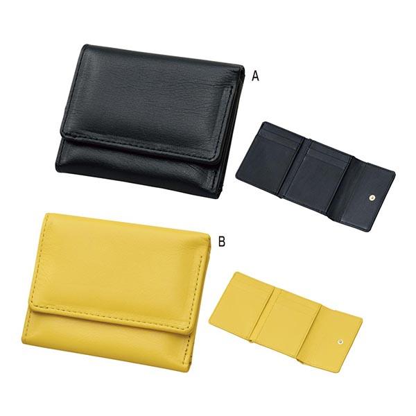 日本製型押しコンパクト三つ折財布 [B/黄]