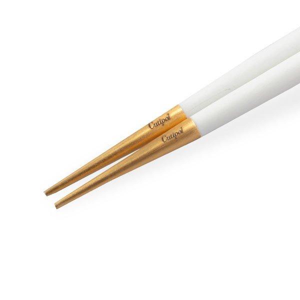 【全品5%OFFクーポン コードglv】クチポール Cutipol GOA ゴア 箸 + 箸置きセット ホワイト×ゴールド Chopstick Set White Gold お箸 チョップスティック カトラリー ★
