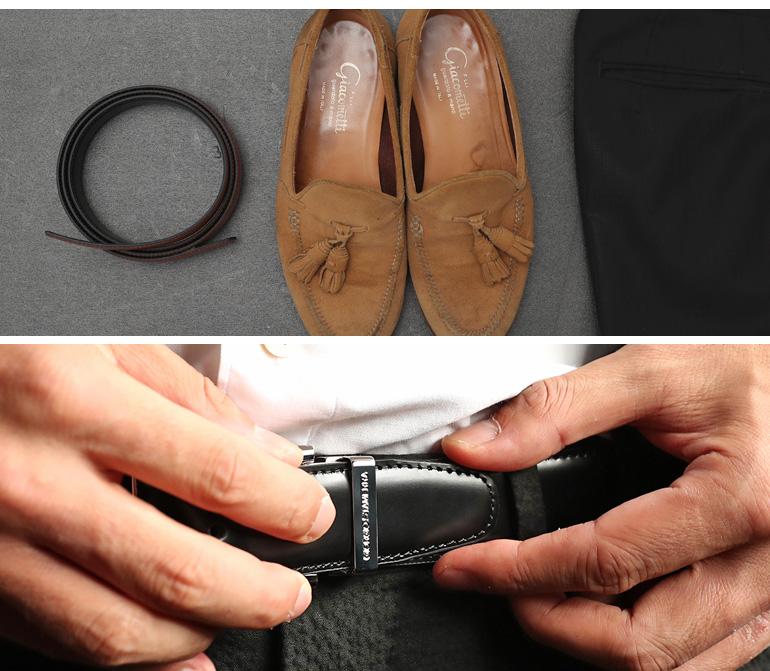 ストリンガ(ズボン用替えベルト) ジョバンニ フルグレインレザー 幅3.5cm ウエスト107cmまで対応