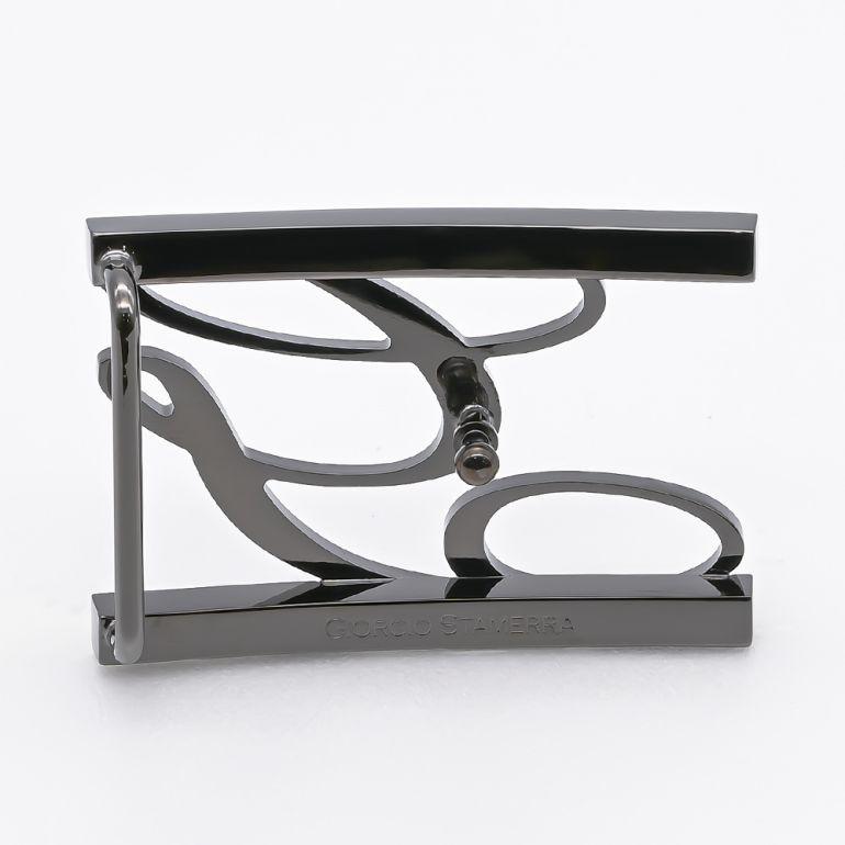 【アウトレット】ジョルジオスタメッラ バックルのみ トップ式バックル Gロゴバックル メンズ レディース ブラス100% アルチェ用 幅3cm用 FBM GLB1 30 ガンメタル 保証対象外