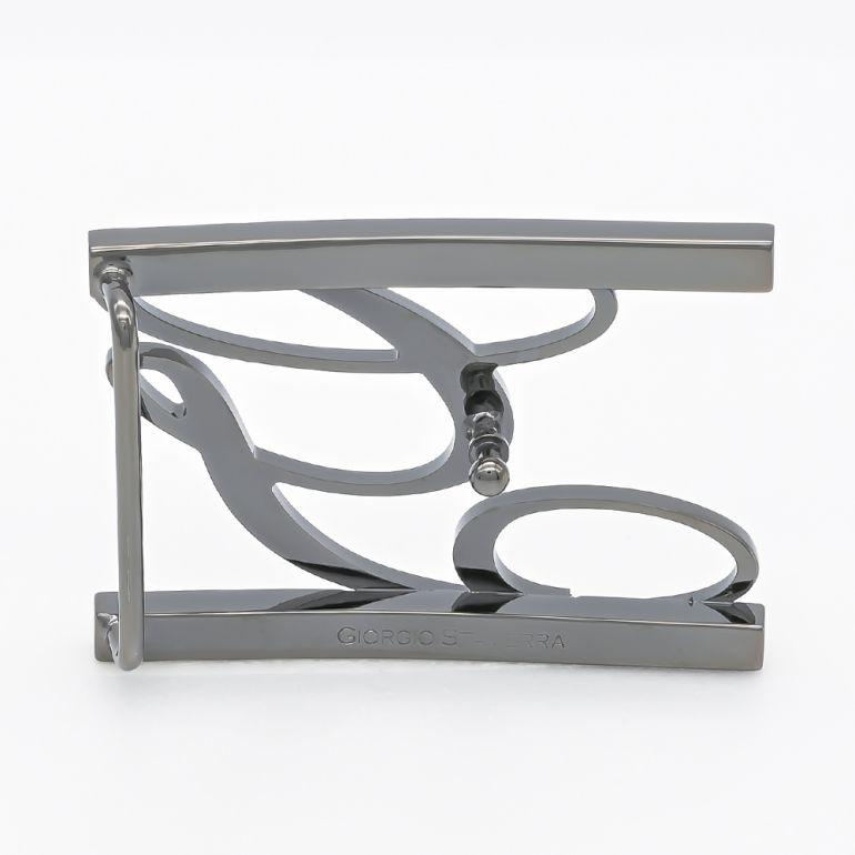 【アウトレット】ジョルジオスタメッラ バックルのみ トップ式バックル Gロゴバックル メンズ ブラス100% アルチェ用 幅3.5cm用 FBM GLB1 35 ガンメタル 保証対象外