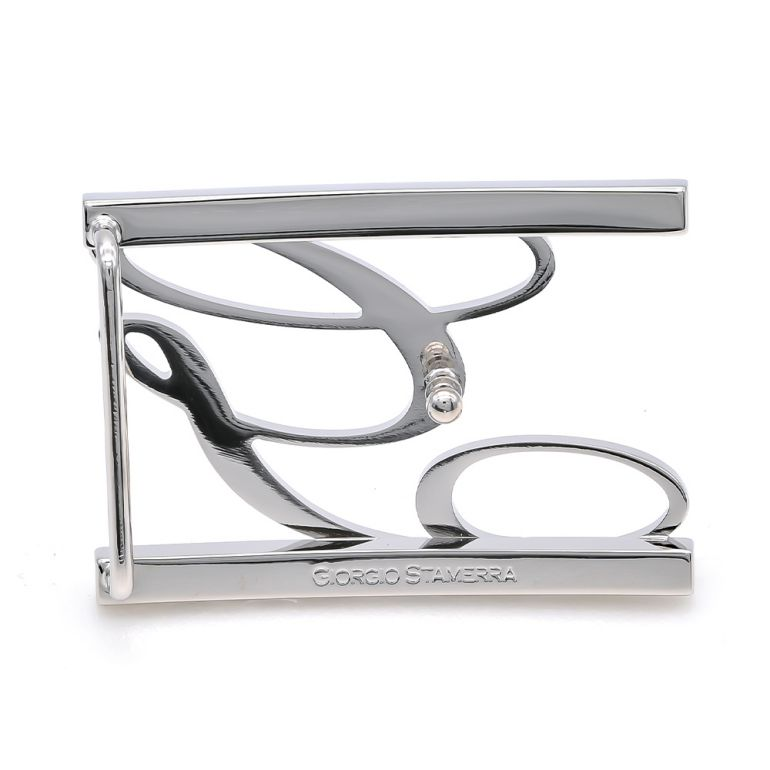 【アウトレット】ジョルジオスタメッラ バックルのみ トップ式バックル Gロゴバックル メンズ ブラス100% アルチェ用 幅3.5cm用 FBM GLB1 35 シルバー 保証対象外