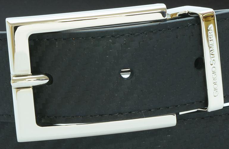 ジョルジオ スタメッラ ベルト カーフレザー ウォールセミマット ブラック カーボン調 シルバーバックル 幅3cm ウエスト107cmまで対応 ストリンガシステム 【名入れ無料】