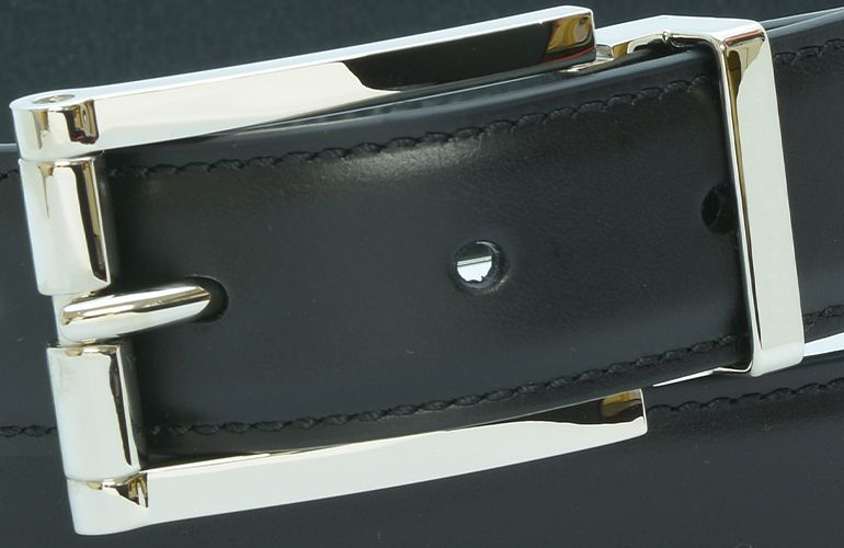 ジョルジオ スタメッラ ベルト ブッテーロ ネロ シルバーバックル 幅3cm ウエスト107cmまで対応 ストリンガシステム