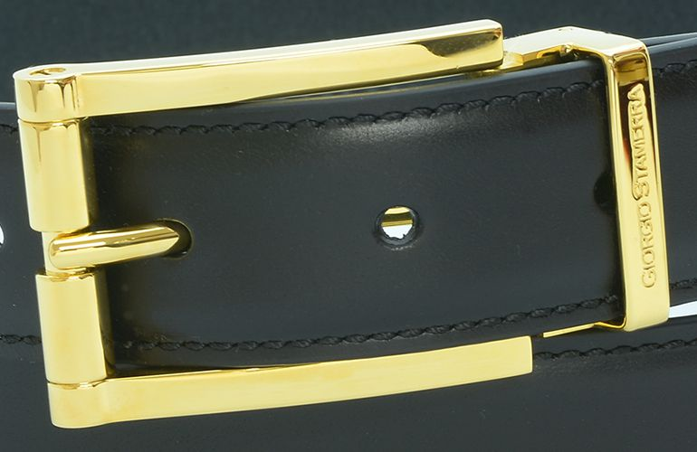ジョルジオ スタメッラ ベルト ブッテーロ ネロ ゴールドバックル 幅3cm ウエスト107cmまで対応 ストリンガシステム 【名入れ無料】