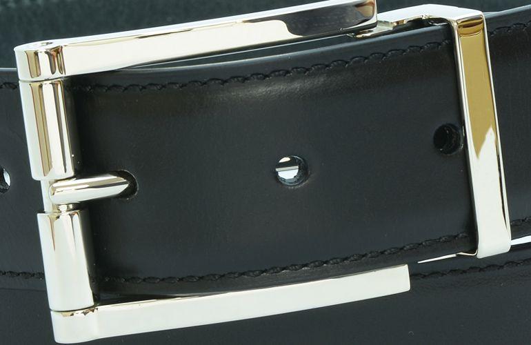 ジョルジオ スタメッラ ベルト ブッテーロ ネロ シルバーバックル 幅3.5cm ウエスト107cmまで対応 ストリンガシステム