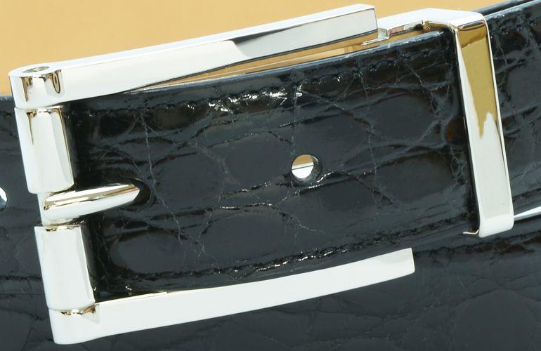ジョルジオ スタメッラ ベルト クロコダイル ワニ革 シャイニーネロ シルバーバックル 幅3cm ウエスト107cmまで対応 ストリンガシステム
