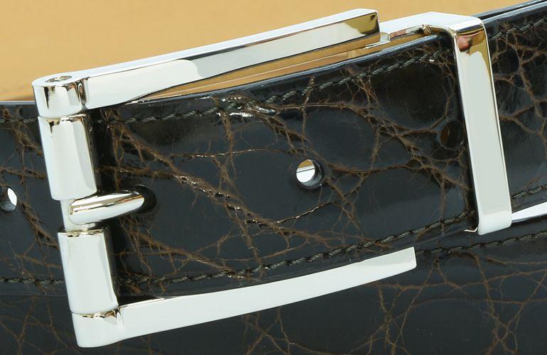ジョルジオ スタメッラ ベルト クロコダイル ワニ革 シャイニーモロ シルバーバックル 幅3cm ウエスト107cmまで対応 ストリンガシステム