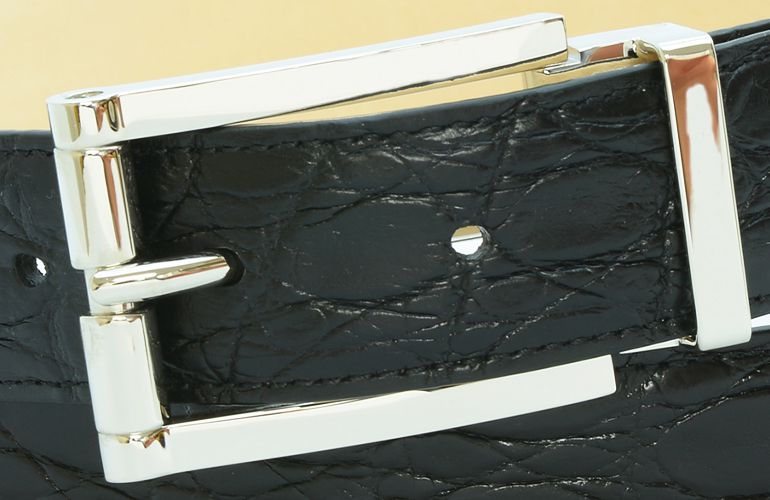 ジョルジオ スタメッラ ベルト クロコダイル ワニ革 マットネロ シルバーバックル 幅3cm ウエスト107cmまで対応 ストリンガシステム