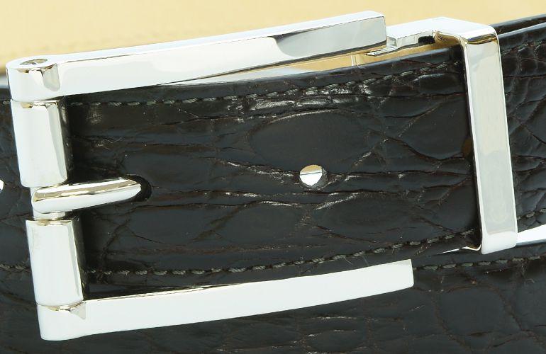 ジョルジオ スタメッラ ベルト クロコダイル ワニ革 マットモロ シルバーバックル 幅3cm ウエスト107cmまで対応 ストリンガシステム