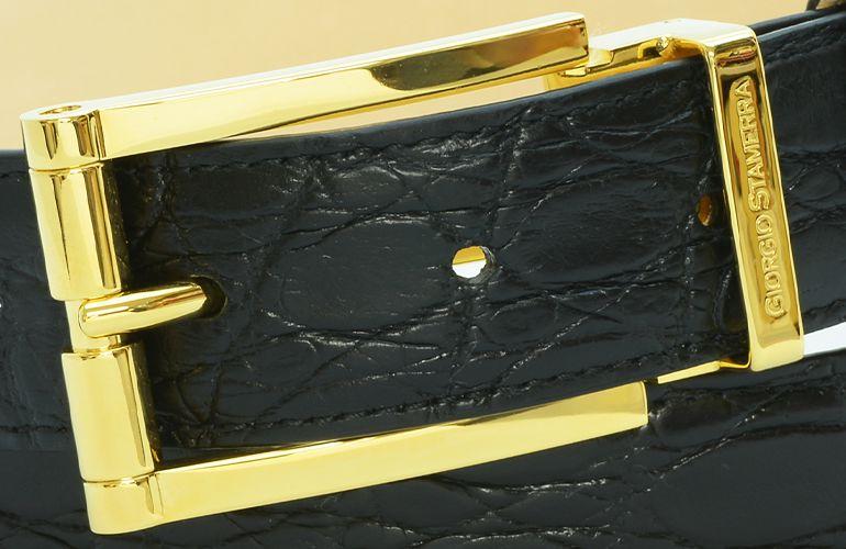 ジョルジオ スタメッラ ベルト クロコダイル ワニ革 マットネロ ゴールドバックル 幅3cm ウエスト107cmまで対応 ストリンガシステム