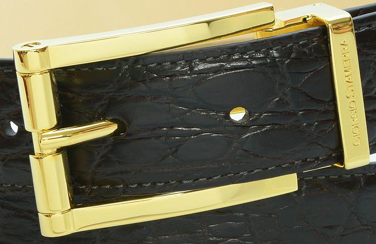 ジョルジオ スタメッラ ベルト クロコダイル ワニ革 マットモロ ゴールドバックル 幅3cm ウエスト107cmまで対応 ストリンガシステム