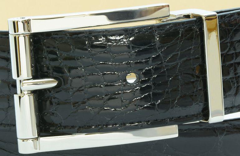 ジョルジオ スタメッラ ベルト クロコダイル ワニ革 シャイニーネロ シルバーバックル 幅3.5cm ウエスト107cmまで対応 ストリンガシステム