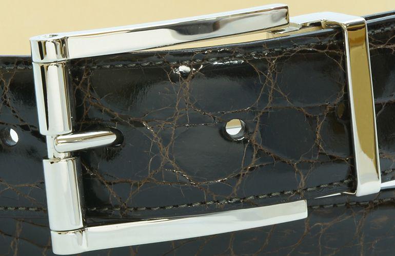 ジョルジオ スタメッラ ベルト クロコダイル ワニ革 シャイニーモロ シルバーバックル 幅3.5cm ウエスト107cmまで対応 ストリンガシステム