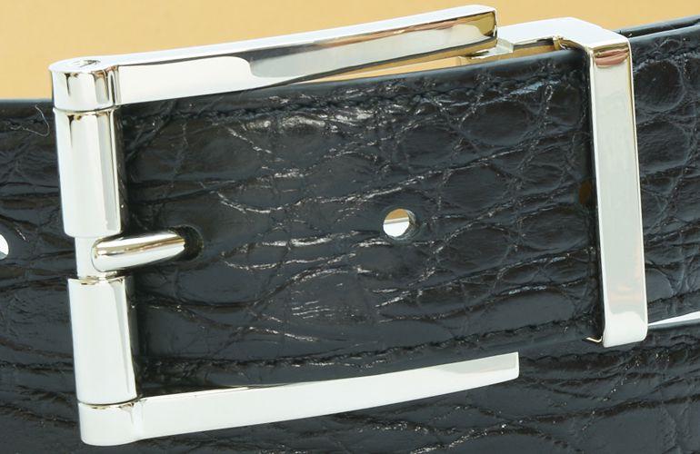 ジョルジオ スタメッラ ベルト クロコダイル ワニ革 マットネロ シルバーバックル 幅3.5cm ウエスト107cmまで対応 ストリンガシステム