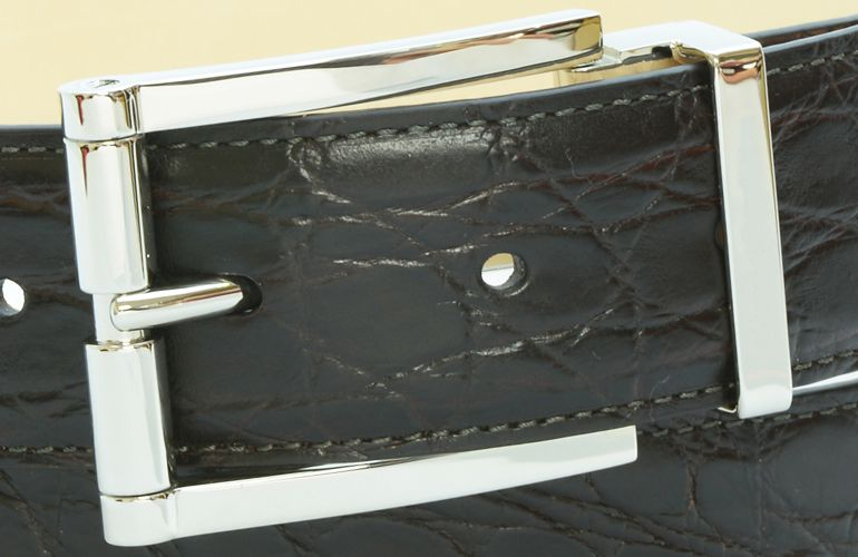 ジョルジオ スタメッラ ベルト クロコダイル ワニ革 マットモロ シルバーバックル 幅3.5cm ウエスト107cmまで対応 ストリンガシステム