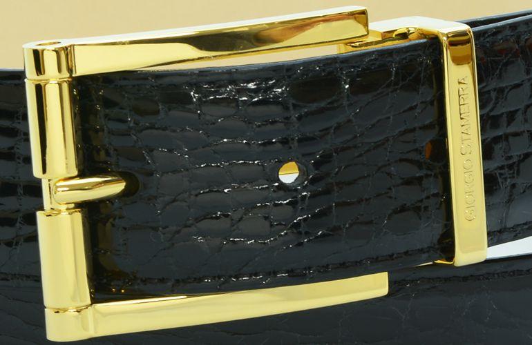 ジョルジオ スタメッラ ベルト クロコダイル ワニ革 シャイニーネロ ゴールドバックル 幅3.5cm ウエスト107cmまで対応 ストリンガシステム
