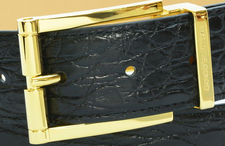ジョルジオ スタメッラ ベルト クロコダイル ワニ革 マットネロ ゴールドバックル 幅3.5cm ウエスト107cmまで対応 ストリンガシステム