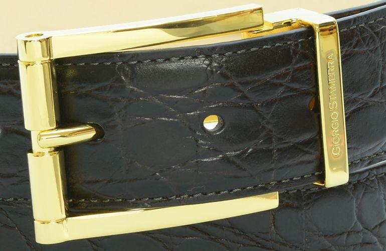 ジョルジオ スタメッラ ベルト クロコダイル ワニ革 マットモロ ゴールドバックル 幅3.5cm ウエスト107cmまで対応 ストリンガシステム