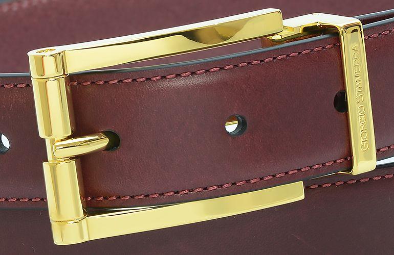 ジョルジオ スタメッラ ベルト ブッテーロ ワインレッド ゴールドバックル 幅3cm ウエスト107cmまで対応 ストリンガシステム