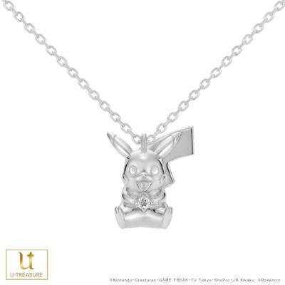 【ポケモン】ピカチュウ ダイヤモンド ネックレス シルバー レディース