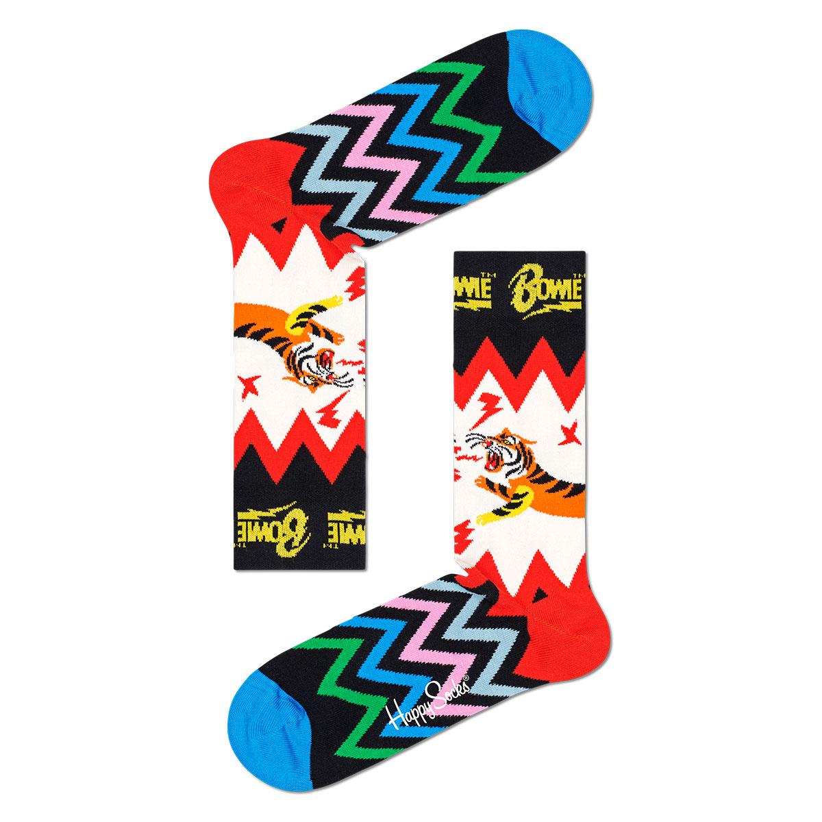 Happy Socks ハッピーソックス  Happy Socks × David Bowie ( デヴィッド・ボウイ )  ELECTRIC TIGER  ( エレクトリック タイガー ) クルー丈 ソックス 靴下 ユニセックス メンズ & レディス プレゼント 贈答 ギフト 14211003 【ゆうパケット220円・6点まで】