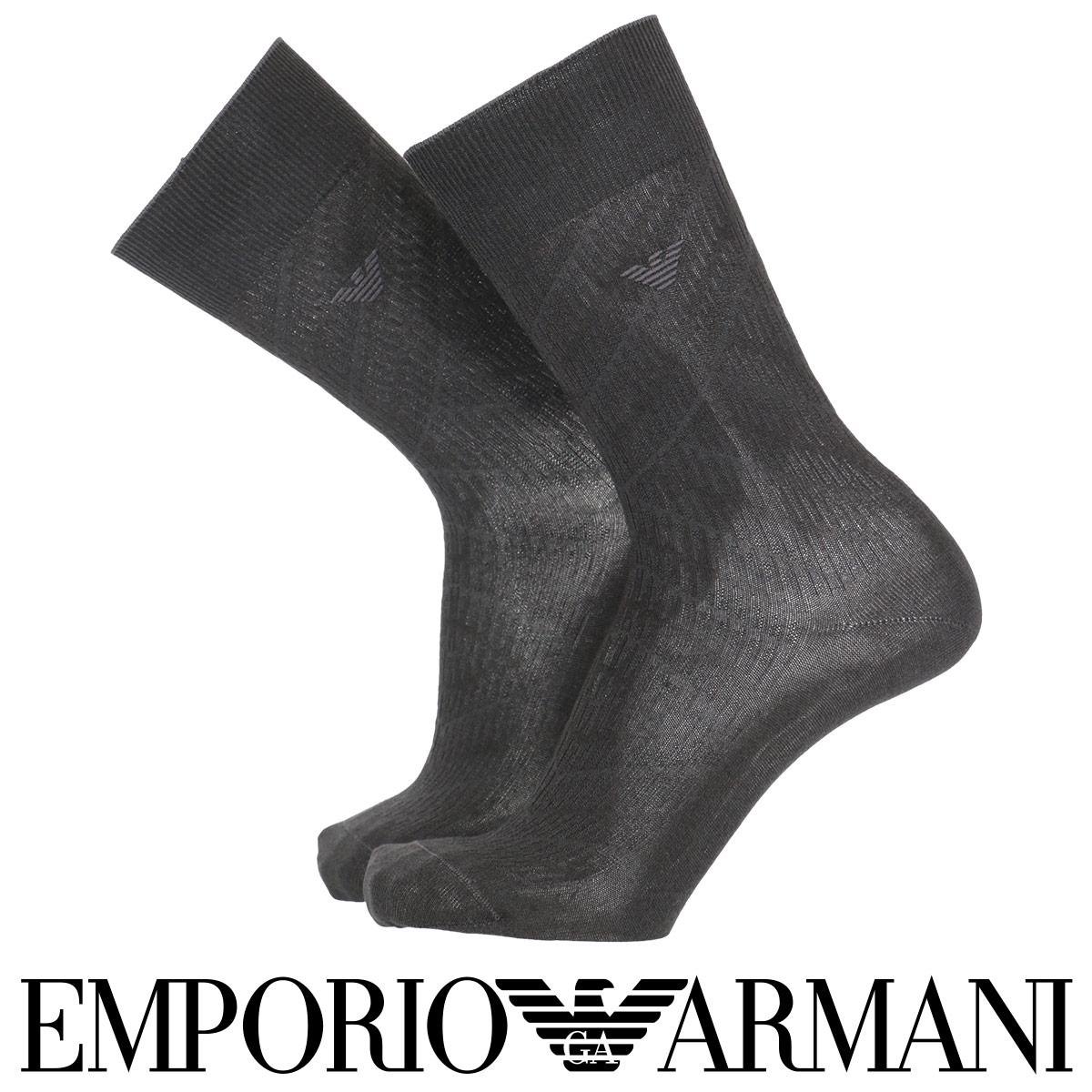 EMPORIO ARMANI  ( エンポリオ アルマーニ ) 綿混 メンズ ソックス 靴下  リンクス柄 クルー丈 ビジネス ソックス 男性 メンズ プレゼント 贈答 ギフト 2312-436【ゆうパケット・4点まで】