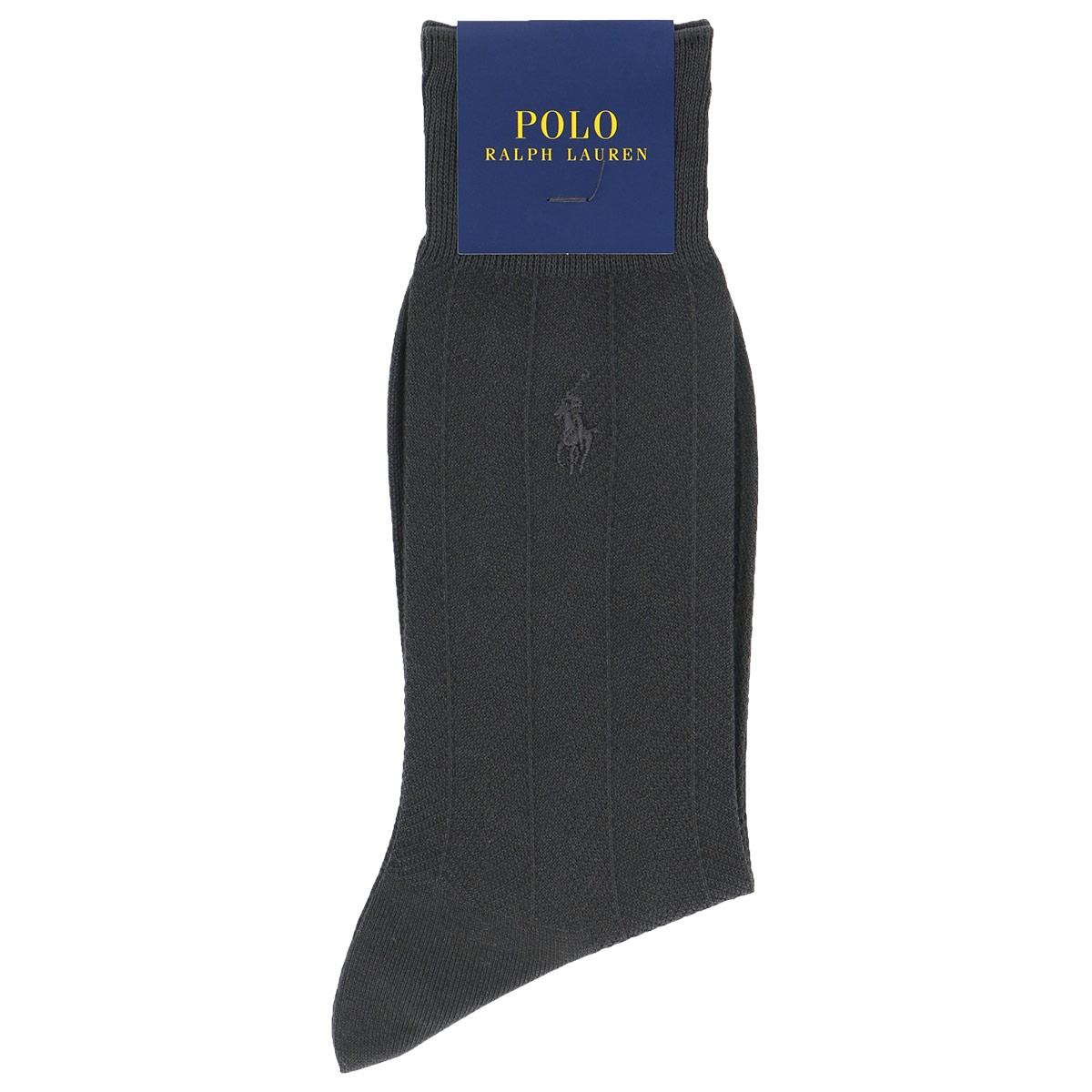 POLO RALPH LAUREN ポロ ラルフローレン|メンズ 男性 紳士 靴下|Dress|COOL 強撚綿|抗菌防臭|ワンポイント刺繍|ヘリンボン柄|ビジネスソックス|2042-232【ゆうパケット・4点まで】