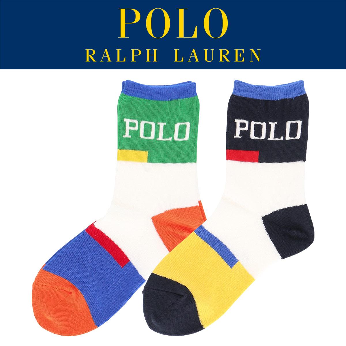 POLO RALPH LAUREN ポロ ラルフローレン|キッズ ジュニア 子供 ボーイズ 男の子 靴下|POLOロゴ|カラーブロック|クルーソックス|4863-510【ゆうパケット・4点まで】