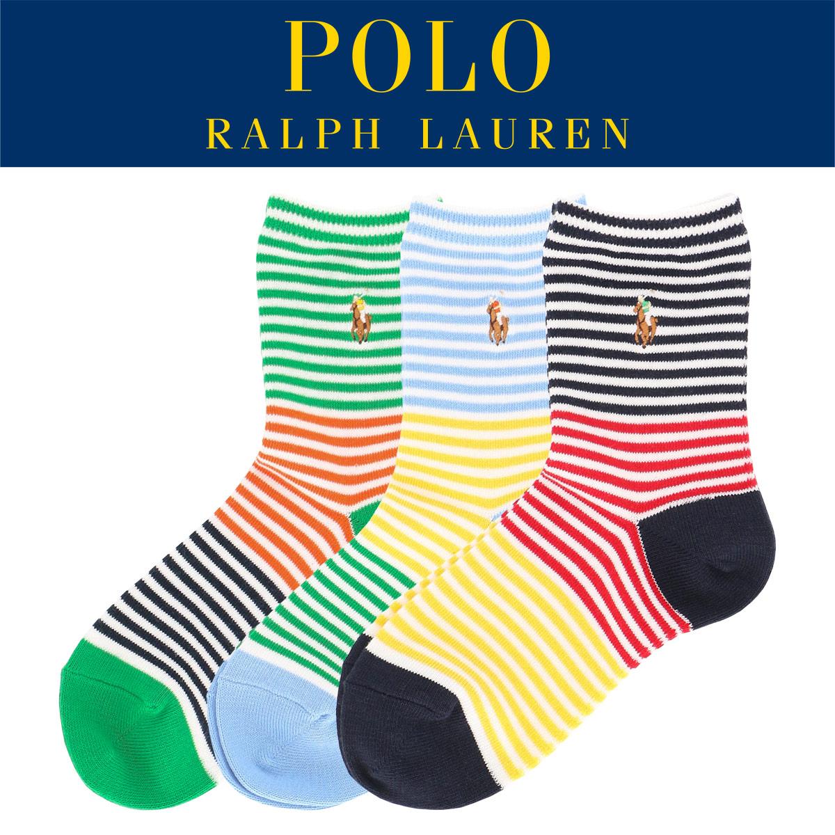 POLO RALPH LAUREN ポロ ラルフローレン|キッズ ジュニア 子供 ボーイズ 男の子 靴下|ワンポイント刺繍|マルチベンガルストライプ|クルーソックス|4863-512【ゆうパケット・4点まで】