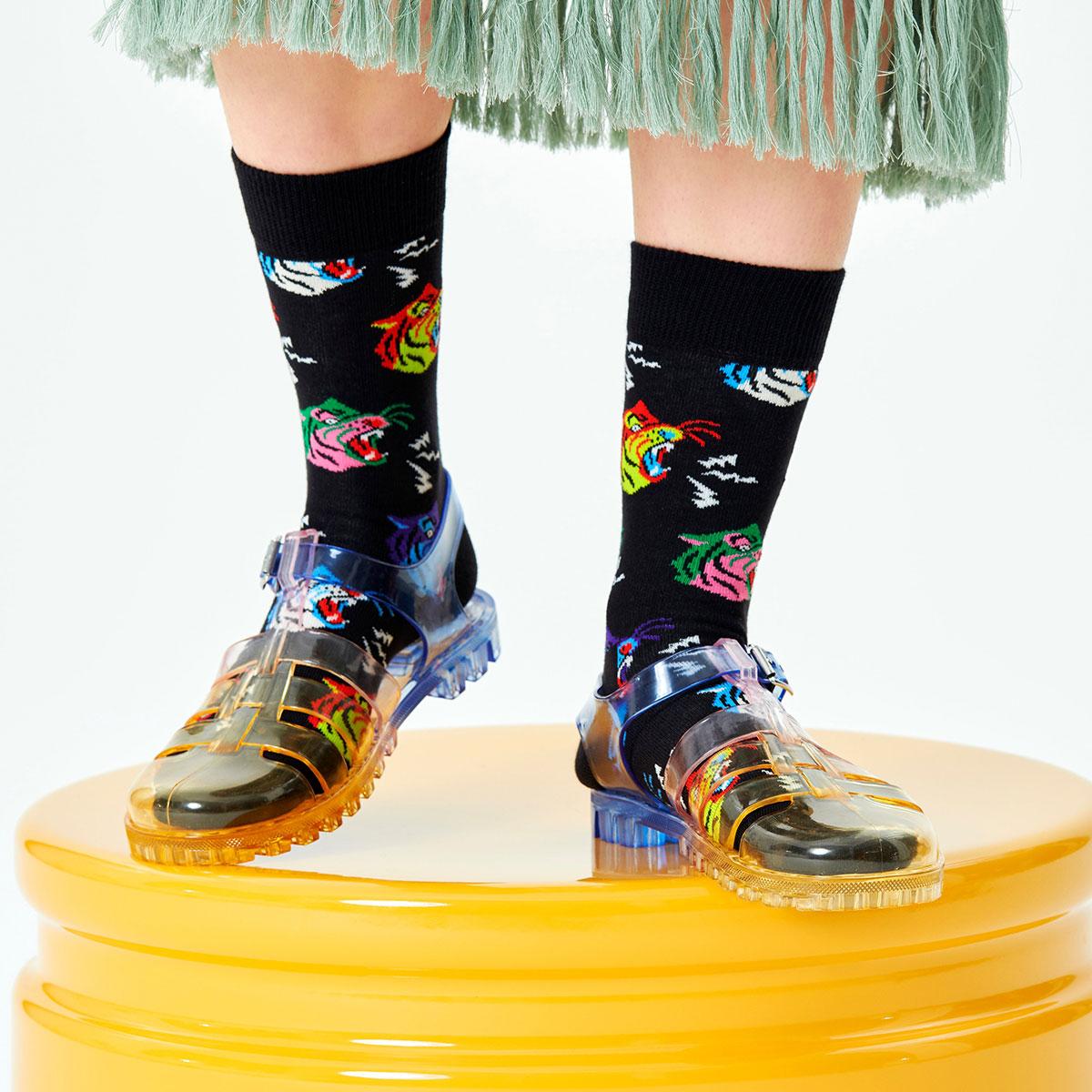 Happy Socks ハッピーソックス  TIGER ( タイガー ) クルー丈 綿混 ソックス 靴下 ユニセックス メンズ & レディス プレゼント 贈答 ギフト 10211014【ゆうパケット220円・4点まで】
