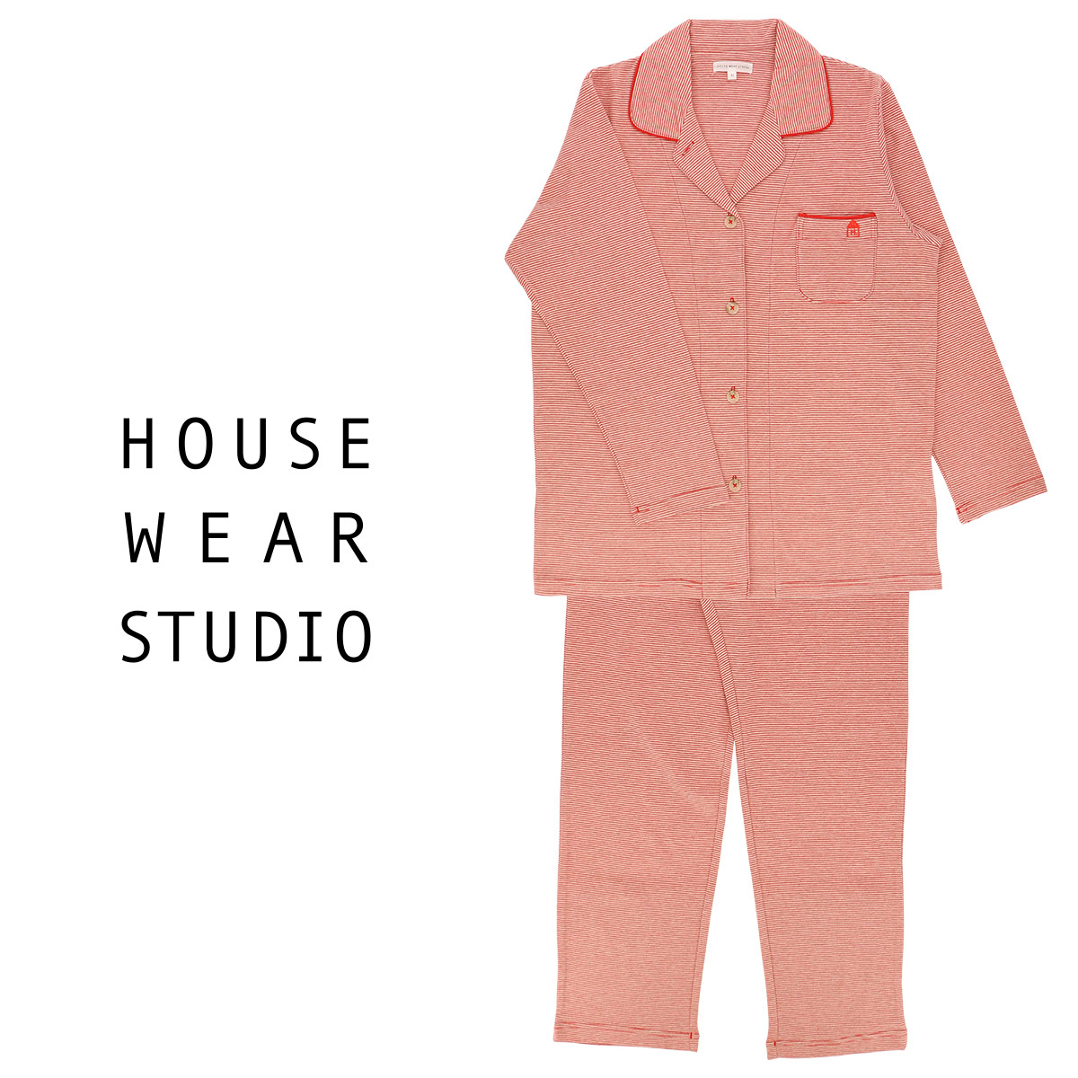 HOUSE WEAR STUDIO ハウス ウェア スタジオ レディース パジャマ コットン100% 長袖 パンツ 細ボーダー Lサイズ 73370813 【ゆうパケットお取り扱い不可】