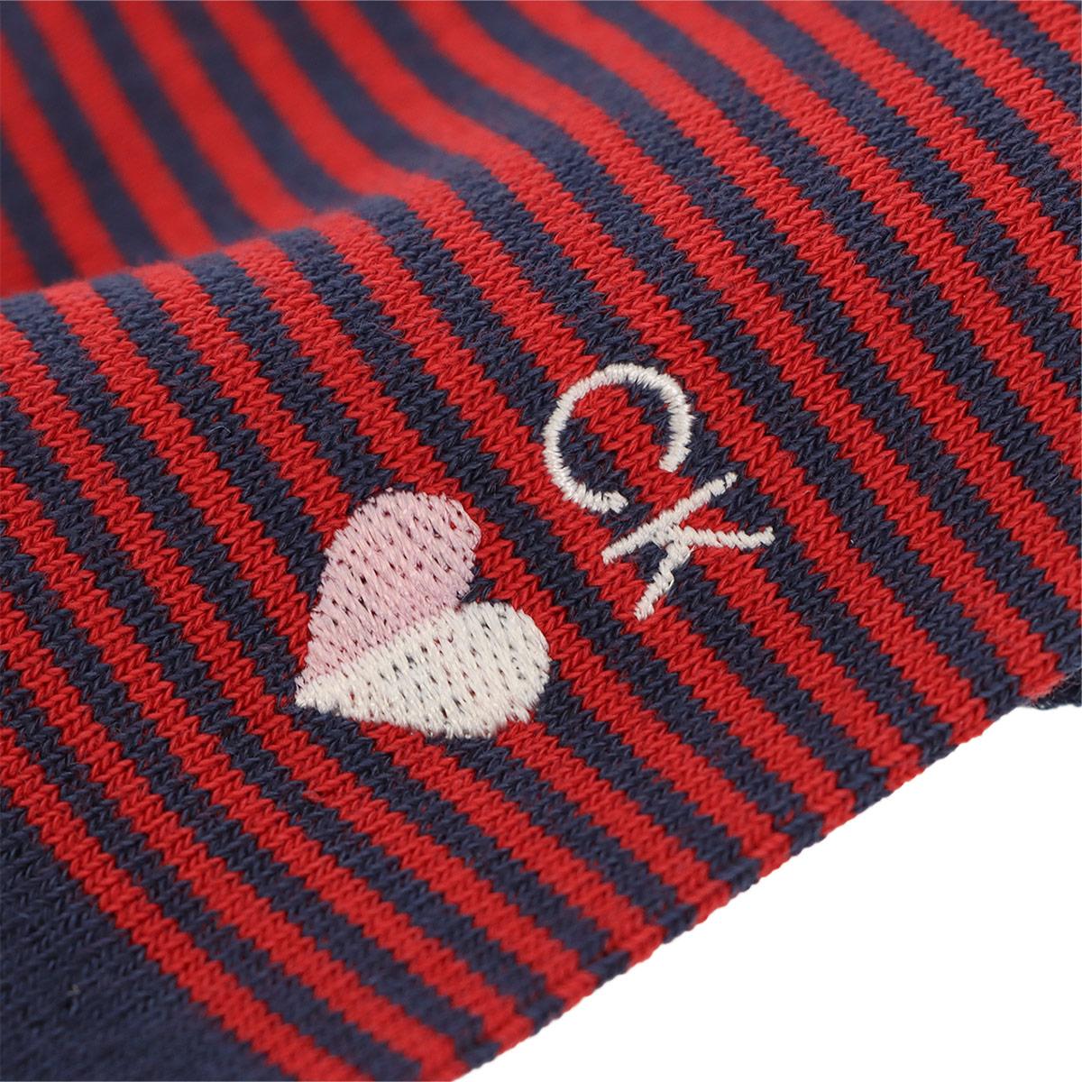 Calvin Klein カルバンクライン 日本製 カジュアル バレンタイン ボーダー柄 CKハート刺繍 クルー丈 メンズ ソックス 男性 靴下 プレゼント 贈答 ギフト 02542168【ゆうパケット・4点まで】
