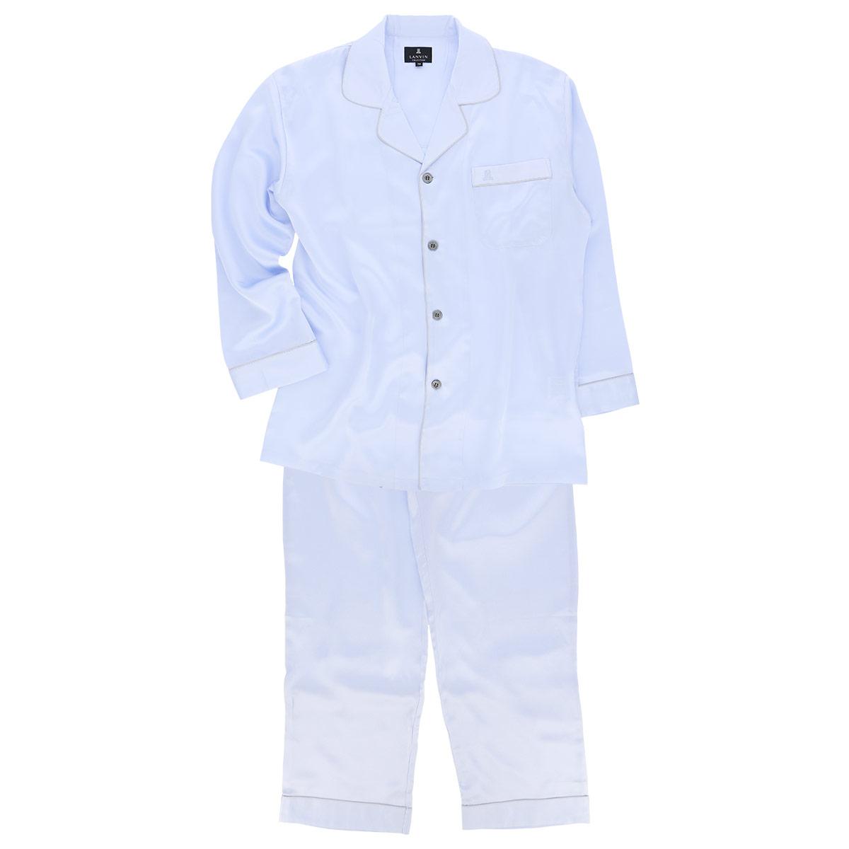 LANVIN COLLECTION ランバン コレクション メンズ パジャマ シルク100% 長袖長丈パンツ Mサイズ 73044366【ゆうパケットお取り扱い不可】
