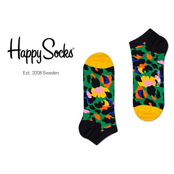 Happy Socks ハッピーソックス LEOPARD ( レオパード ) スニーカー丈 綿混 ソックス 靴下 ユニセックス レディース  11123015【ゆうパケット・6点まで】