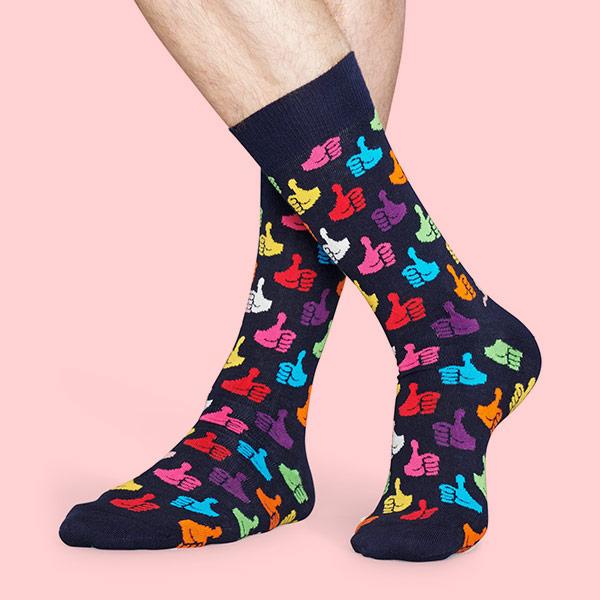 Happy Socks ハッピーソックス THUMBS UP ( サムズ アップ ) クルー丈 綿混 ソックス 靴下 ユニセックス メンズ  10117041【ゆうパケット・4点まで】