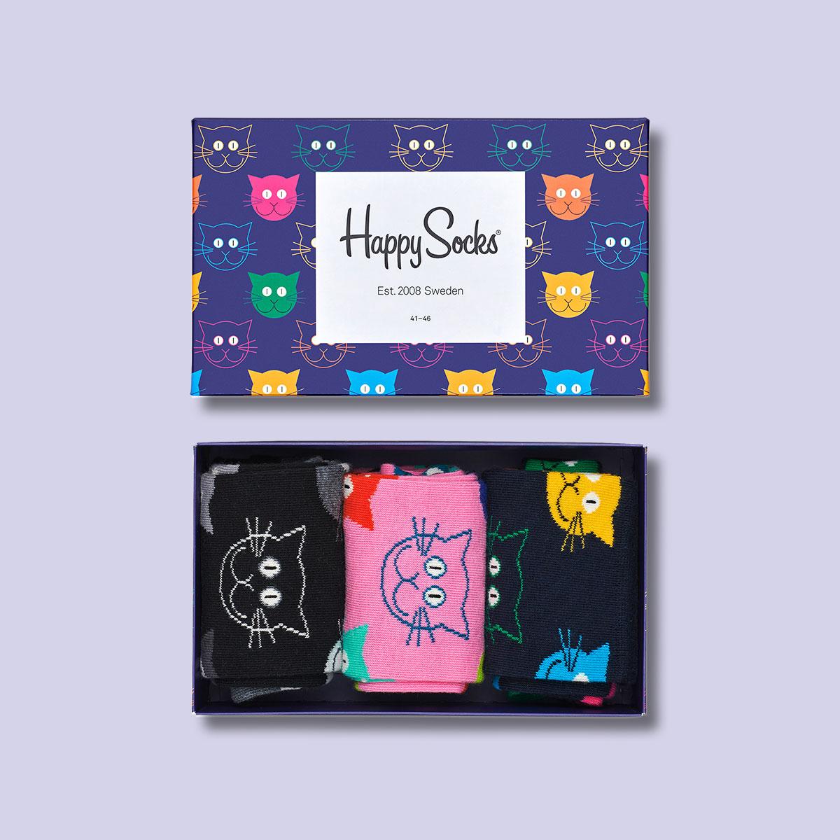 Happy Socks ハッピーソックス  MIXED CAT( ミックスド キャット ) 3足組 ギフトセット 綿混 クルー丈 ソックス 靴下 GIFT BOX ユニセックス メンズ 男性 紳士 プレゼント ギフト 10140001【ゆうパケットお取り扱い不可】