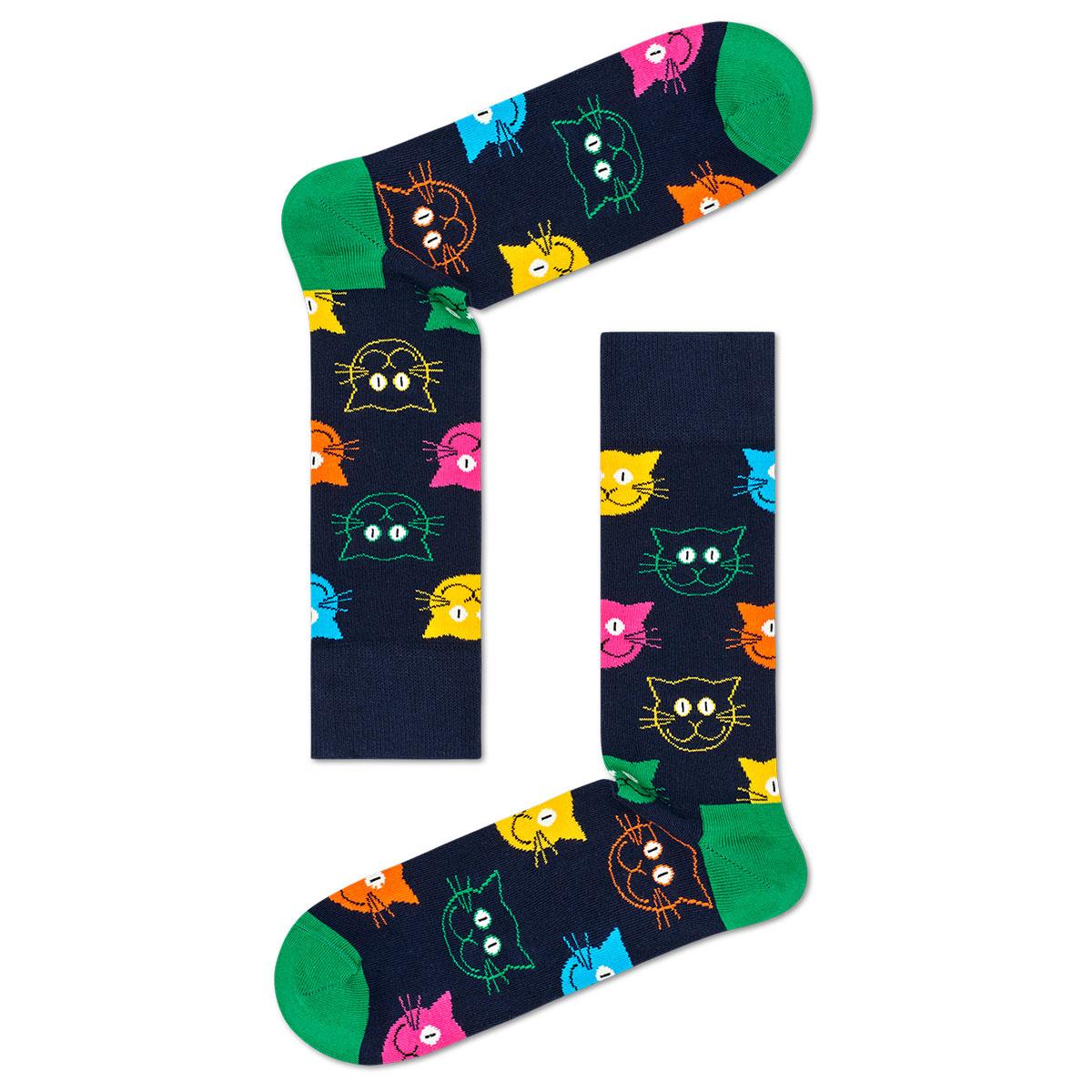 Happy Socks ハッピーソックス  MIXED CAT( ミックスド キャット ) 3足組 ギフトセット 綿混 クルー丈 ソックス 靴下 GIFT BOX ユニセックス レディース 女性 婦人 プレゼント ギフト 11140001【ゆうパケットお取り扱い不可】