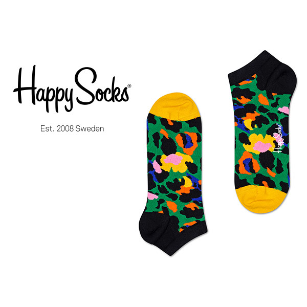 Happy Socks ハッピーソックス LEOPARD ( レオパード ) スニーカー丈 綿混 ソックス 靴下 ユニセックス メンズ  10123015【ゆうパケット・6点まで】