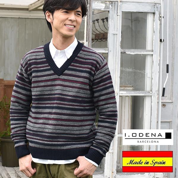 スペイン製ボーダーセーター[I.ODENA][ニット カジュアル メンズファッション セーター メンズ 秋冬 秋服 冬服 40代 50代 ファッション かっこいい ニットセーター] グレンフィールド[あす着対応] セール対象