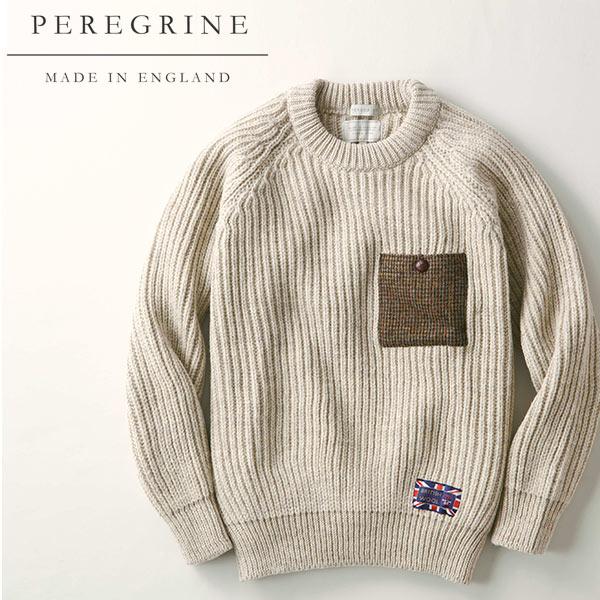 英国製 ハリスツイード使用の無染色セーター[あす着対応][Peregrine/ペレグリン アウター メンズ 秋冬 秋服 冬服 40代 50代 ファッション かっこいい 防寒] セール対象